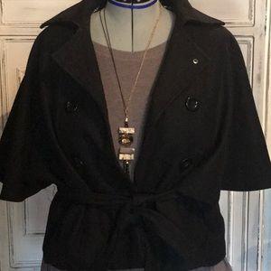 Black cape pea coat